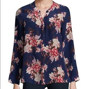 Joie Devitri Floral Long Sleeve Silk Blouse small